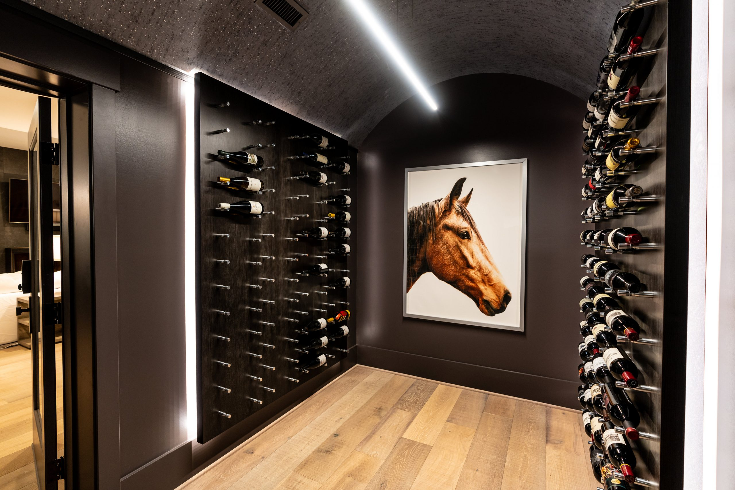 walk in wine cellar designed by The Jones Studio