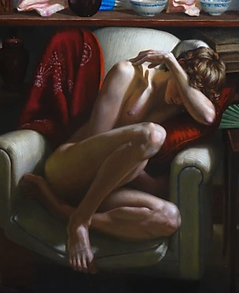 "36"" x 30"" oil painting - Male Nude Curled in Chair by Kendric Tonn"