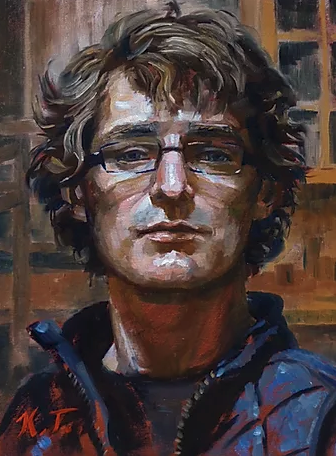 self portrait in oil by Kendric Tonn