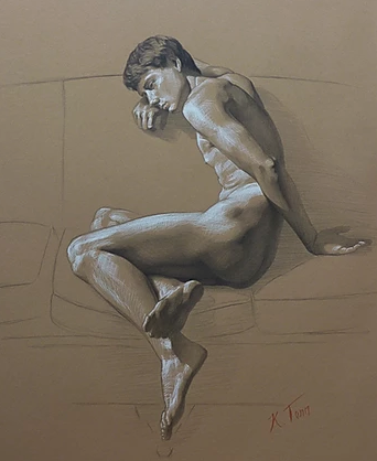 "30"" x 22"" graphite and chalk on paper - Study of S by Kendric Tonn"